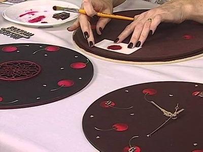 Acrilex - Artesanato - Relógio com cerejas