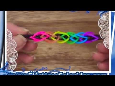 Como fazer pulseira Fusilli  - Rainbow Loom - Elásticos Coloridos