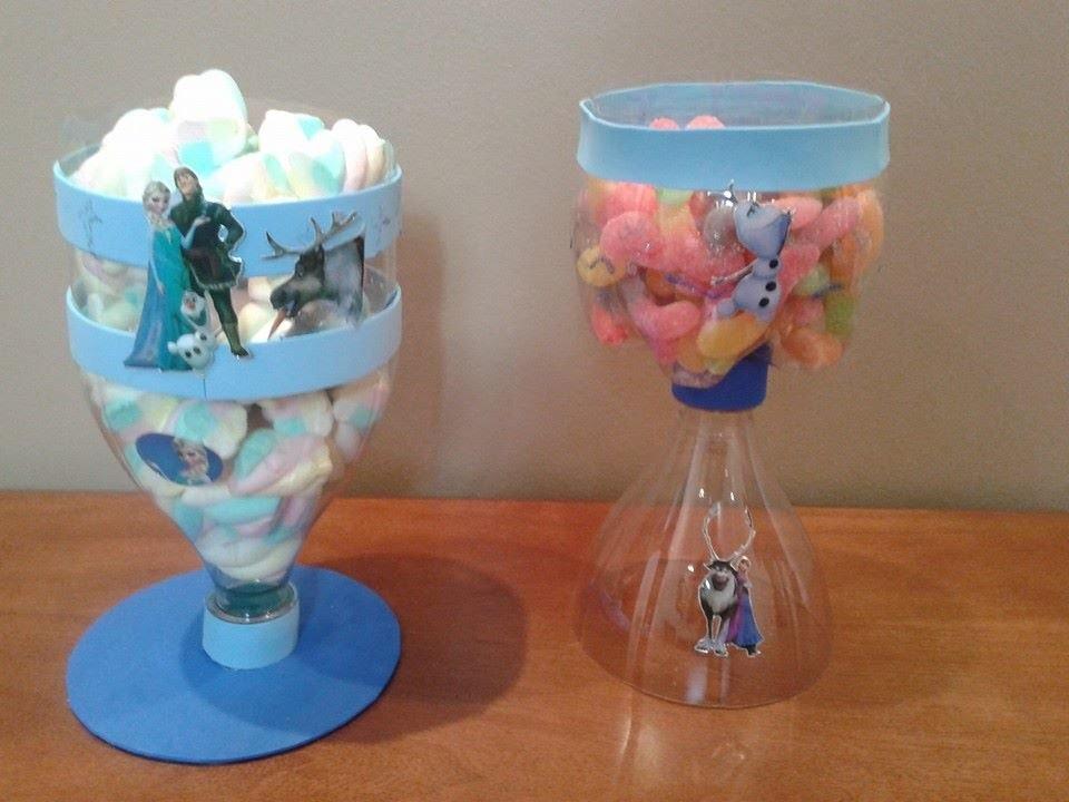 D.I.Y Pote doces , garrafa pet :frozen ,barbie de 15 anos, decoração festa infantil reciclagem