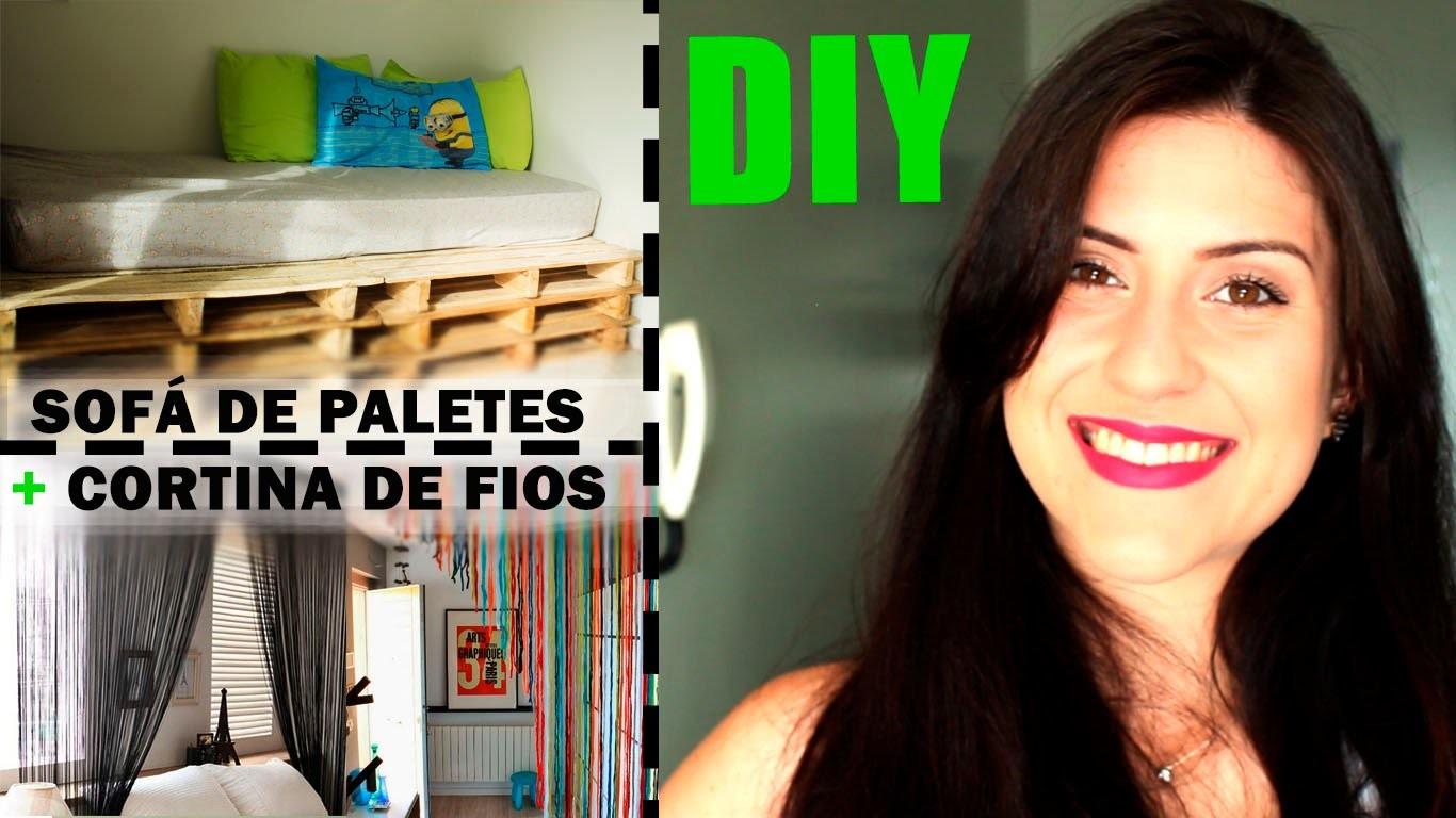 DIY Decoração - Sofá de palete + Cortina de fios | por Julia Justus