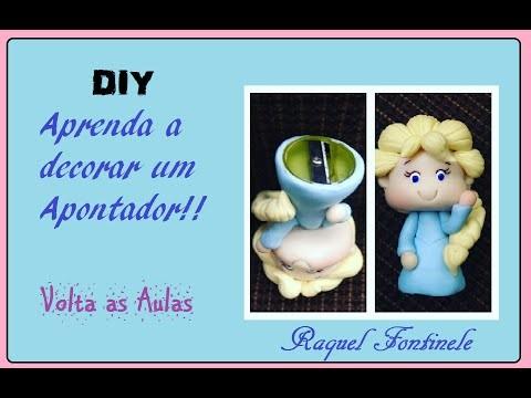 DIY- Apontador decorado em  Biscuit - Kit escolar- Raquel Fontinele