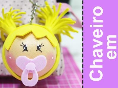 Artesanato EVA -  Chaveiro Lembrancinha Chá de Bebê Menina