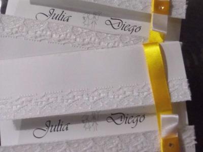 DIY Convite de Casamento com Renda por: Julia Cardoso