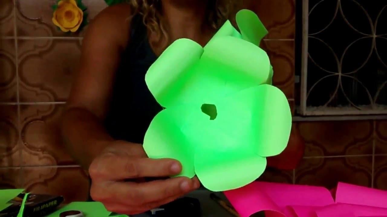 Diy  flor de  papel Neon