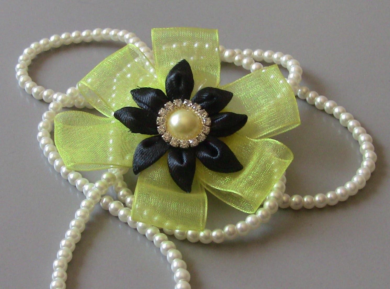 D.I.Y. Flor de  fitas de organza e cetim Passo a Passo - flower on satin ribbons