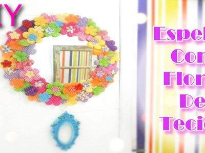 DIY Moldura de Espelho Com Flores de Tecido