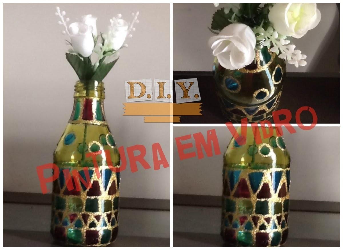 Como pintar vidro com tinta verniz vitral - DIY | Luciana Queiróz