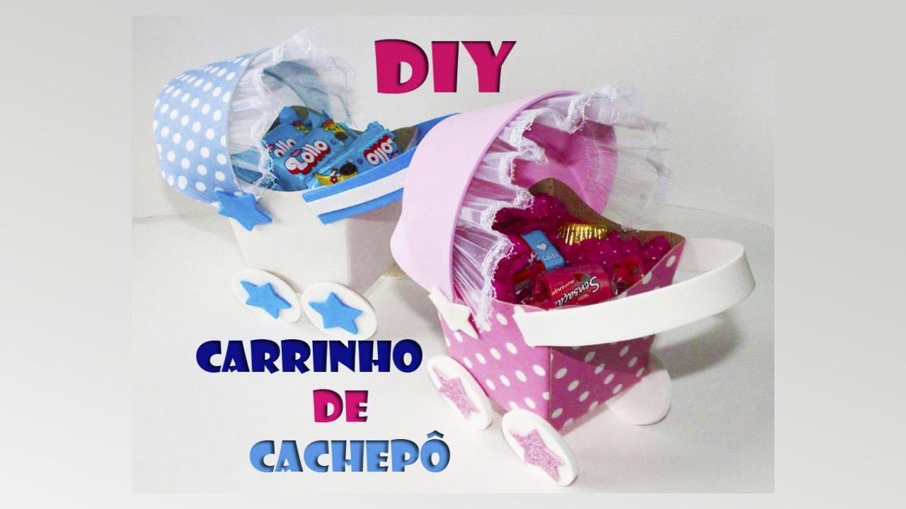 DIY crafts: carrinho de bebê com cachepô - Centro de mesa- Baby tea