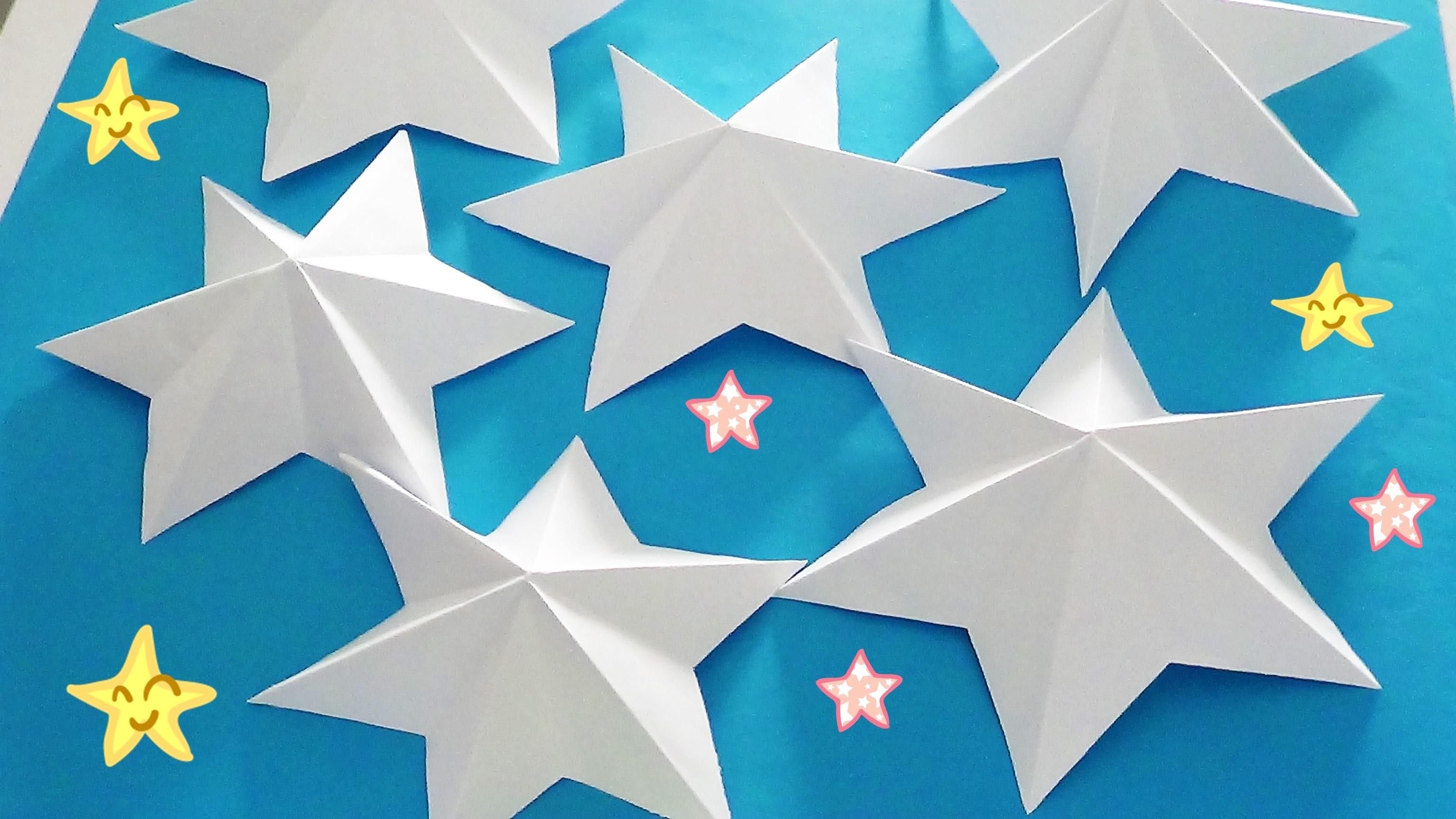 DIY  Saiba como fazer Estrela 3D de 6 pontas com papel - EASY DIY 3D paper star