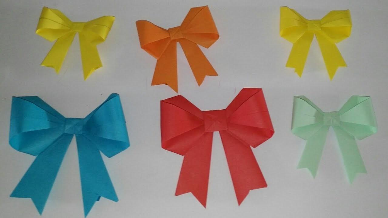 Lazos o moños de papel origami tutorial DIY manualidades manolidades