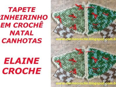 CROCHE PARA CANHOTOS - LEFT HANDED CROCHET - TAPETE PINHEIRINHO NATAL CROCHÊ CANHOTAS