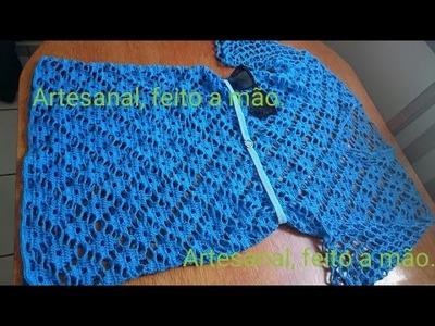 Vestido azul adulto feito em croche parte 2