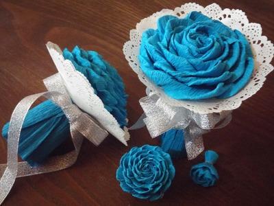 Bouquet de flores de papel crepom - DIY - crepe paper flowers bouquet