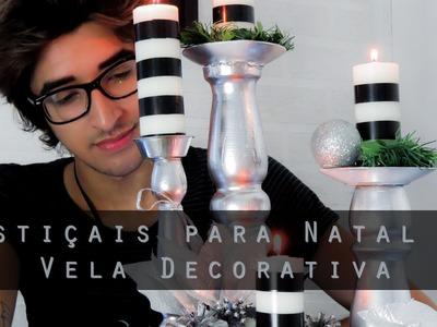 DIY de castiçais de Natal e velas decorativas