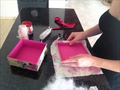 Artesanato - Como Fazer Caixa de Madeira com Tecido Floral, Caixa de MDF Decorada YOUTUBE
