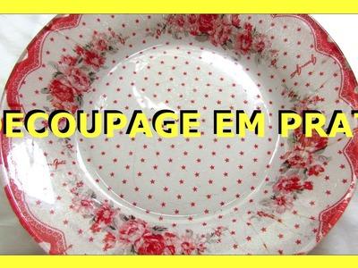 DECOUPAGE EM PRATO - 1 - Nane Mendes - Como decorar um prato com DECOUPAGE EM PRATO