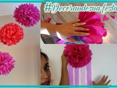 DIY: DECORANDO SUA FESTA: Flor de seda fácil e LINDA para decorar!