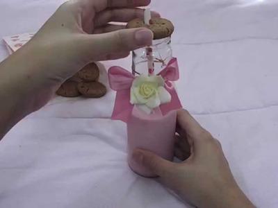 DIY Garrafa de leite enfeitada