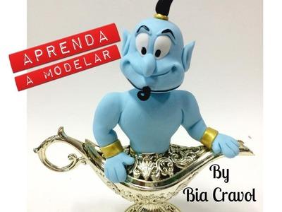 DIY - Gênio da lampada - Aladim - Bia Cravol - Biscuit - porcelana fria - Bia Cravol