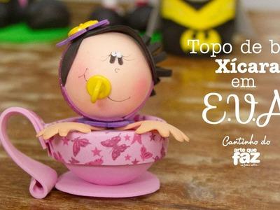 DIY - Topo de Bolo Xícara em E.V.A (Priscila Godói - Prika)
