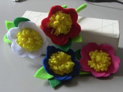 Flor com  petalas em forma de coraçao - Fabric flower tutorial