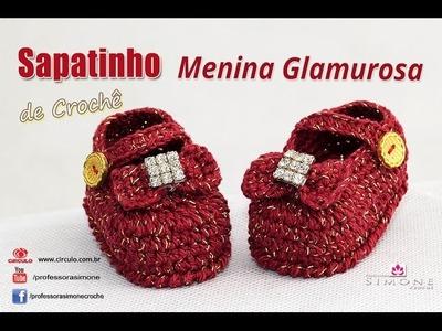 Sapatinho de Crochê Menininha Glamurosa - passo a passo - Professora Simone