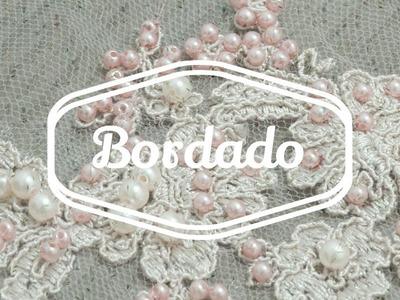 ARTESANATO - BORDADO SOBRE RENDA - VESTIDO DE FESTA