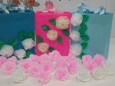 Aula 28 - Como fazer flores para bolsas de papel de seda (Artesanato)