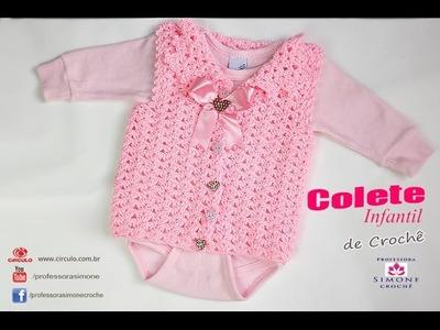 Colete de Crochê bebê - Professora Simone