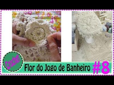 Como Fazer Flor em Crochê   - Jogo de Banheiro em Crochet com Barbante #8