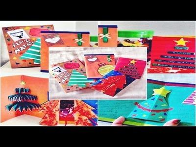 DIY: Cartões de Natal 3D ☃ (4 modelos)
