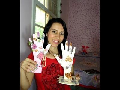 DIY Como fazer mãozinha porta anéis de papelão