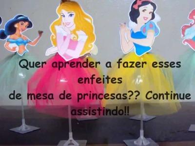 DIY - Faça você mesmo - Enfeite de mesa princesas com garrafa pet