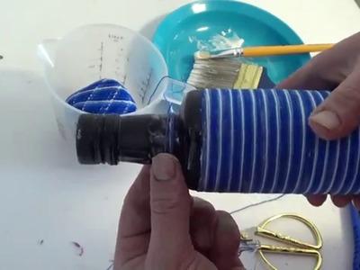 DIY garrafa de azeite  decorada com linha crochet