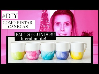 DIY: MARBLE MUGS - CANECAS ESTILO MÁRMORE. SUPER TENDÊNCIA!!