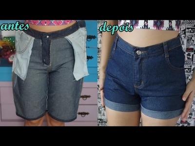 Diy: Transforme bermuda masculina em shorts cintura alta modo fácil #Parte 1 - Customizei meu closet