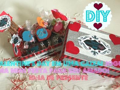 DIY: Valentine's Day em uma caixa! Jogue uma mini festa para seu amado! idéia de presente