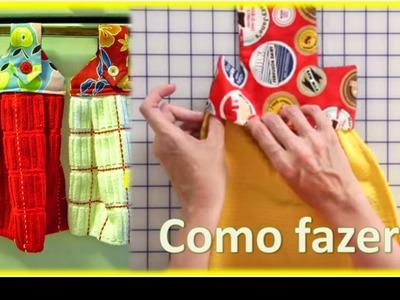 Fácil de Fazer - BATE MÃO com PANO DE PRATO + molde.  Artesanato Passo a Passo