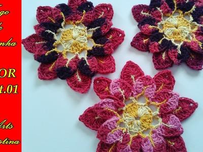 FLOR DE APLICAÇÃO CROCHÊ. flower  crochet. flor croche– ARTS CRISTINA
