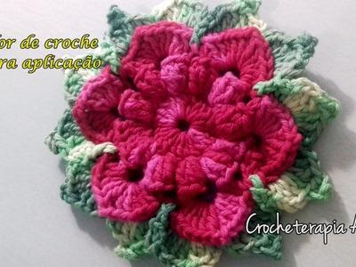 Flor rasteira de crochê para aplicação em tapetes #crochet