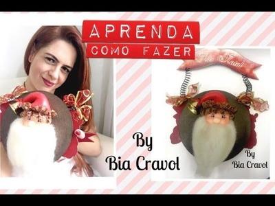 Guirlanda de Papai  Noel de biscuit - DIY - Bia Cravol - aula de biscuit