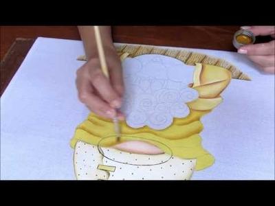 Pintura em tecido - Como pintar efeito de roupa dobrada?  - Theo parte 2