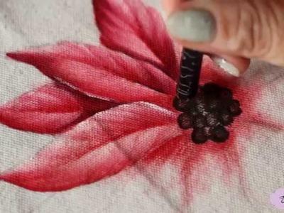 Pintura em tecido -  Eliane Nascimento: como pintar flor bico de papagaio