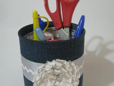 Reciclar lata- DIY Lata Decorada com Jeans