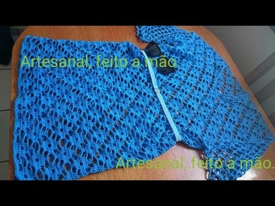 Vestido azul adulto feito em croche parte 1