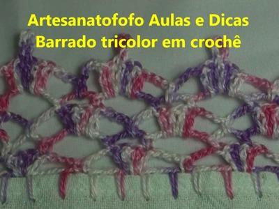 Barrado tricolor em crochê - CROCHÊ 26