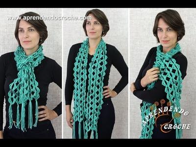 Cachecol de Crochê Jade - Aprendendo Croche