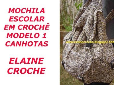 CROCHE PARA CANHOTOS - LEFT HANDED CROCHET - MOCHILA ESCOLAR EM CROCHÊ - MODELO 1 CANHOTAS