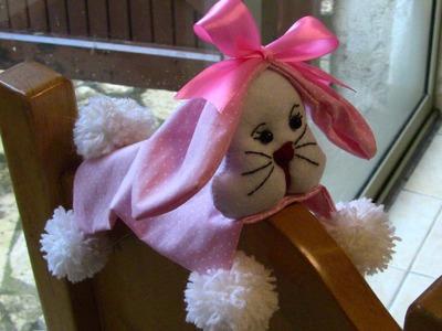 D.I.Y.  Coelho da Páscoa com Pompom e  tecido- Bunny-   Passo a Passo