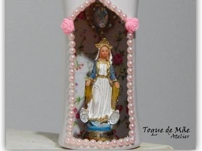 D.I.Y`: Oratório com embalagem reciclada. Relicário com Nossa Senhora